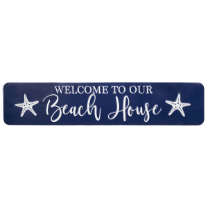 """Embossed """"Welcome to Our Beach House"""" Wall Decor"""