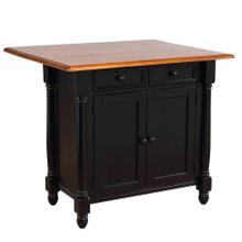 See Details - Kitchen Island w/Drop Leaf - Antique Black and Cherry Top