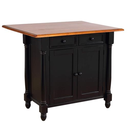 Product Image - Kitchen Island w/Drop Leaf - Antique Black and Cherry Top