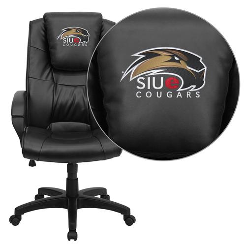 Southern Illinois University Edwardsville Cougars Embroidered Black Leather Executive Office Chair