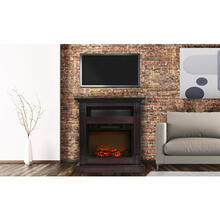 See Details - Cambridge Sienna 34 In. Electric Fireplace w/ 1500W Log Insert and Mahogany Mantel, CAM3437-1MAH