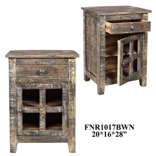 20X16X28 SOLID MANGO WOOD ACCENT CABINET, 1 PC/7.35'