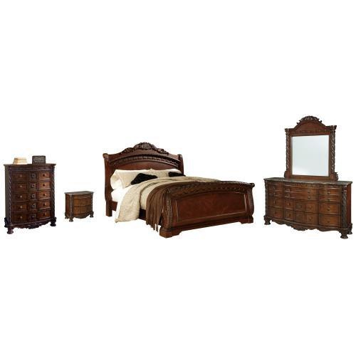 Product Image - King Sleigh Bed With Mirrored Dresser, Chest and Nightstand