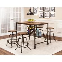 Product Image - Pub Table with Built-In Wine Rack - Rustic Elm Industrial