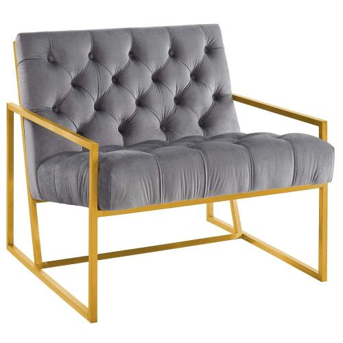 Modway - Bequest Gold Stainless Steel Performance Velvet Accent Chair in Gray