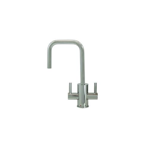 Mountain Plumbing - Hot & Cold Water Faucet with Contemporary Round Body & Handles (90° Spout) - Polished Nickel