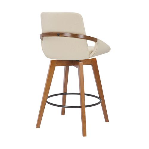 """Armen Living - Baylor 26"""" Counter Height Swivel Barstool with Walnut Finish and Cream Faux Leather"""