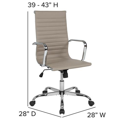 High Back Tan LeatherSoft Mid-Century Modern Ribbed Swivel Office Chair with Spring-Tilt Control and Arms