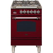 See Details - Nostalgie 24 Inch Dual Fuel Natural Gas Freestanding Range in Burgundy with Chrome Trim