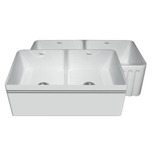 "Farmhaus Fireclay Reversible Series double bowl fireclay sink with a decorative 2 1/2"" lip on one side, a fluted front apron on the opposite side, and 3 1/2"" center drains. Product Image"