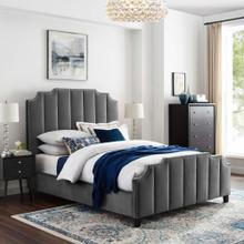 Lucille Queen Performance Velvet Platform Bed in Gray