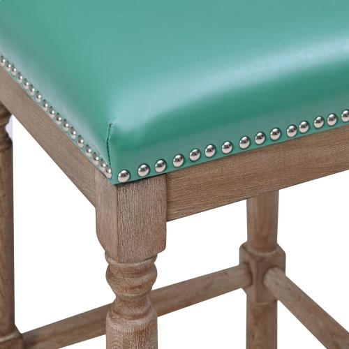 Ernie KD Bonded Leather Counter Stool Drift wood Legs, Turquoise