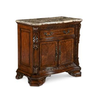 See Details - Old World Marble Top Nightstand