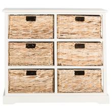 See Details - Keenan 6 Wicker Basket Storage Chest - Distressed White
