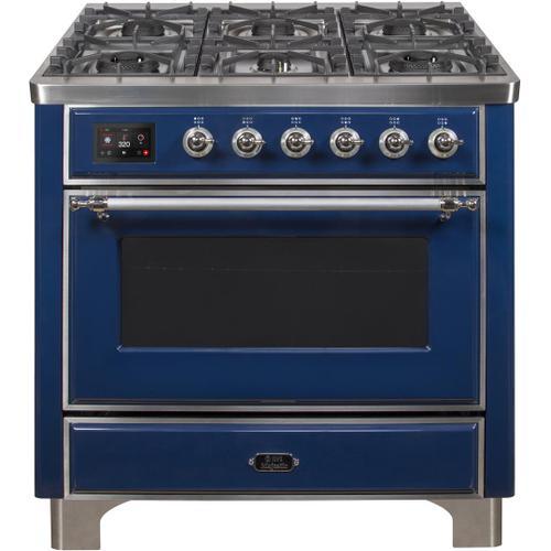 Ilve - Majestic II 36 Inch Dual Fuel Liquid Propane Freestanding Range in Blue with Chrome Trim
