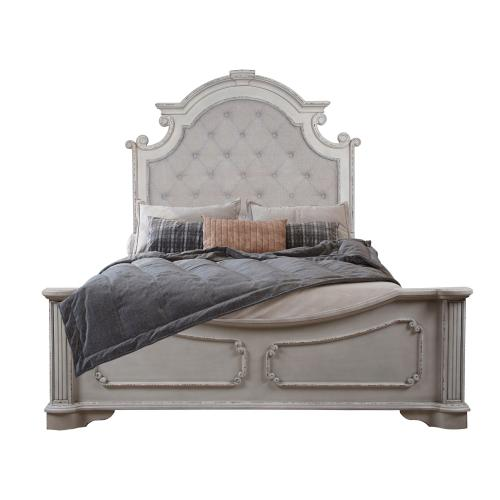 King Size Headboard, Footboard and Side rails, Available in Antique White Finish Only.