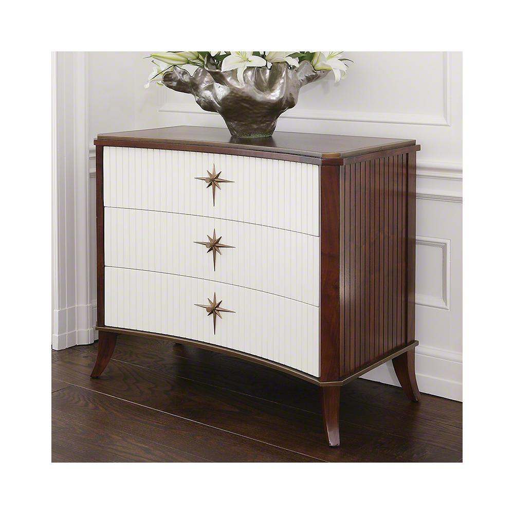 Klismos Three Drawer Cabinet-Walnut/Ivory