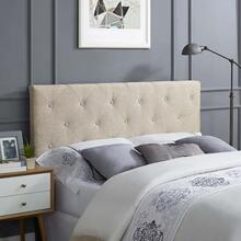 Terisa Queen Upholstered Fabric Headboard in Beige
