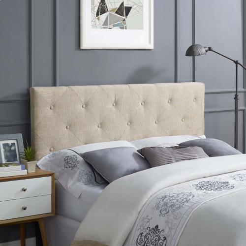 Terisa Queen Upholstered Fabric Headboard in Beige