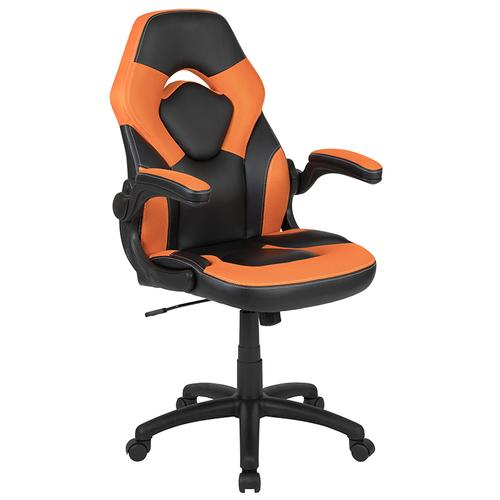 Gallery - Red Gaming Desk and Orange\/Black Racing Chair Set with Cup Holder and Headphone Hook