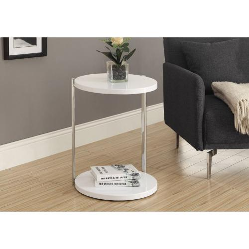 Gallery - ACCENT TABLE - GLOSSY WHITE / CHROME METAL