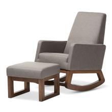 See Details - Baxton Studio Yashiya Mid-century Retro Modern Grey Fabric Upholstered Rocking Chair and Ottoman Set