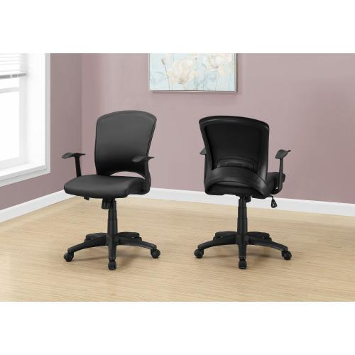 OFFICE CHAIR - BLACK LEATHER-LOOK / MULTI POSITION