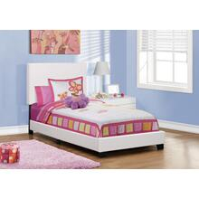 See Details - BED - TWIN SIZE / WHITE LEATHER-LOOK