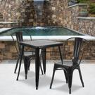 "Commercial Grade 23.75"" Square Black Metal Indoor-Outdoor Table Set with 2 Stack Chairs Product Image"