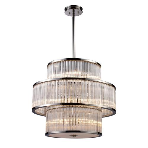 Braxton 15-Light Chandelier in Polished Nickel with Ribbed Glass Cylinder Shade