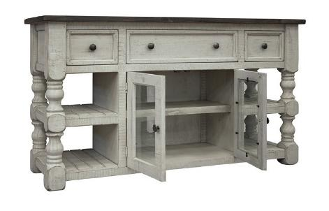 "Factory 7 60"" Post Open Concept Console with 3-Drawers and 2-Doors"