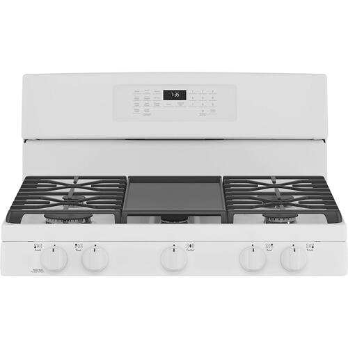 """GE 30"""" Freestanding Gas Convection Range with No Preheat Air Fry White - JCGB735DPWW"""