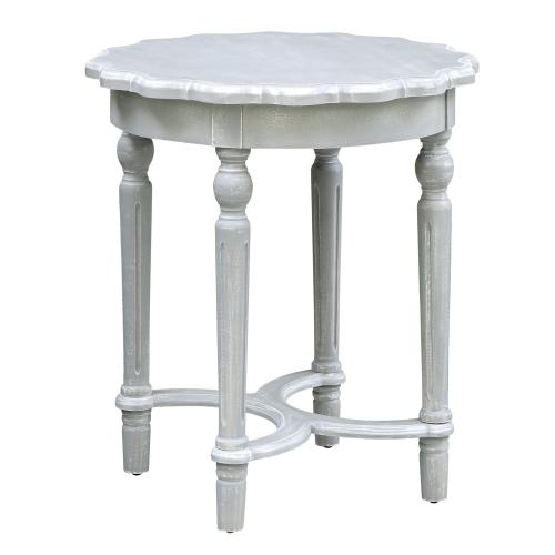 Product Image - Pembroke Turned Leg Chalk Grey Scalloped Accent Table