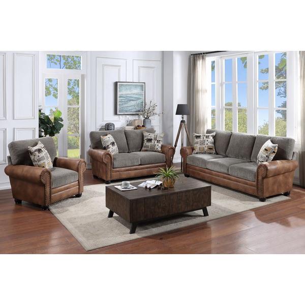 Colorado Gray & Brown Sofa, Loveseat & Chair, U7291