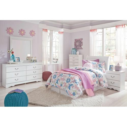 Twin Sleigh Headboard With Mirrored Dresser and Chest