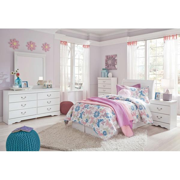 See Details - Twin Sleigh Headboard With Mirrored Dresser, Chest and Nightstand