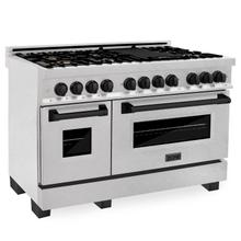 """View Product - ZLINE Autograph Edition 48"""" 6.0 cu. ft. Dual Fuel Range with Gas Stove and Electric Oven in DuraSnow® Stainless Steel with Accents (RASZ-SN-48) [Color: Matte Black]"""