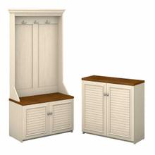 View Product - Hall Tree with Storage Bench and 2 Door Cabinet, Antique White/Tea Maple
