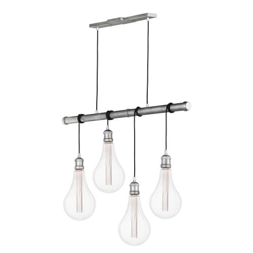 Early Electric 4-Light Pendant with A52 LED Bulbs