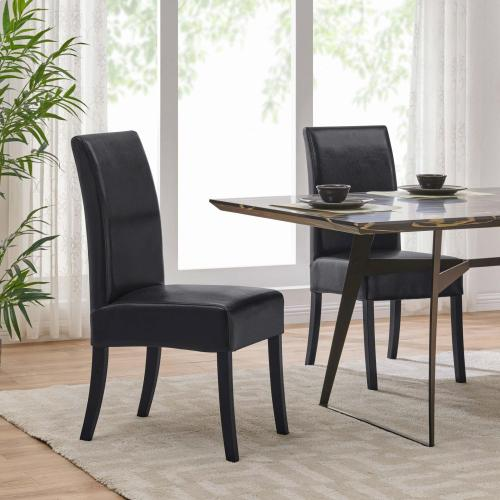 Valencia BONDED Leather Dining Side Chair, Black