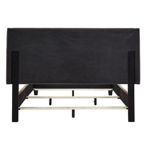 All-in-One Upholstered Bed Charcoal Fabric Queen