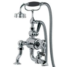Exposed Mackintosh thermostatic bath and shower valve with cradle and Mackintosh handset (available wall and deck mounted)