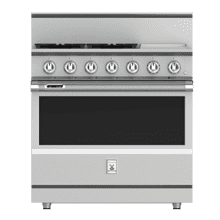 """36"""" 4-Burner Dual Fuel Range with 12"""" Griddle - KRD Series - Steeletto"""