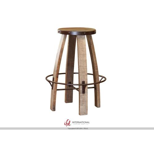 "30"" Stool - with wooden seat & Iron footrest"