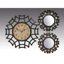 ANTIQUE BLACK 3PC. CLOCK AND MIRROR SET