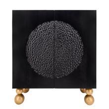 "See Details - Wood 39x47"" Hammered Cabinet, Black"