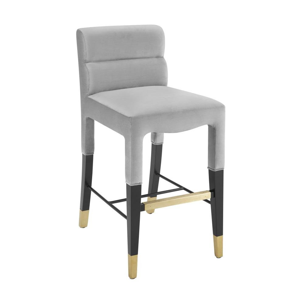 Taylor Grey Velvet Counter Stool
