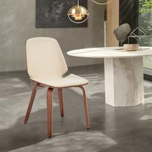 View Product - Brinley Cream Faux Leather and Walnut Wood Dining Room Accent Chair