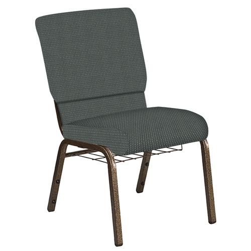 Flash Furniture - 18.5''W Church Chair in Canterbury Pewter Fabric with Book Rack - Gold Vein Frame