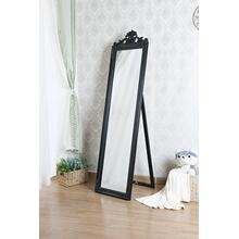 7056 BLACK Full Length Standing Crown Mirror